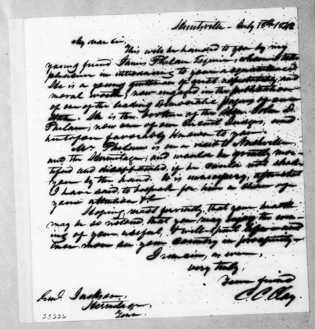 Clement Comer Clay to Andrew Jackson, July 18, 1842