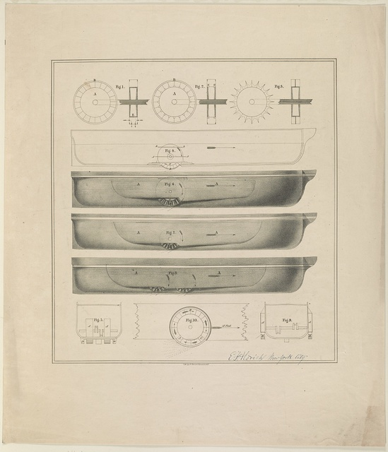 [Design drawings for paddle wheel steamer] / lith. by N. Currier, 2 Spruce St. N.Y.