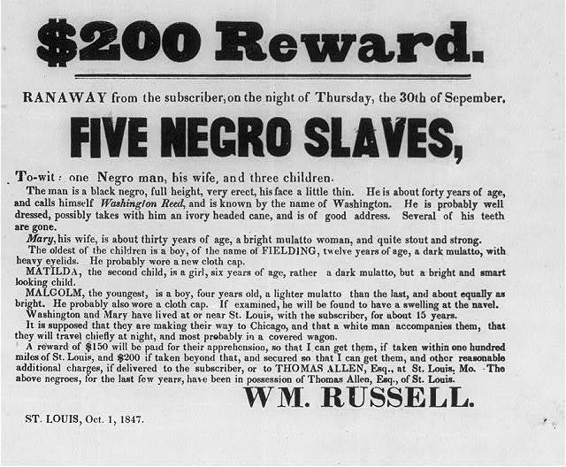 $200 Reward. Ranaway from the subscriber, on the night of Thursday, the 30th of Sepember, five Negro slaves