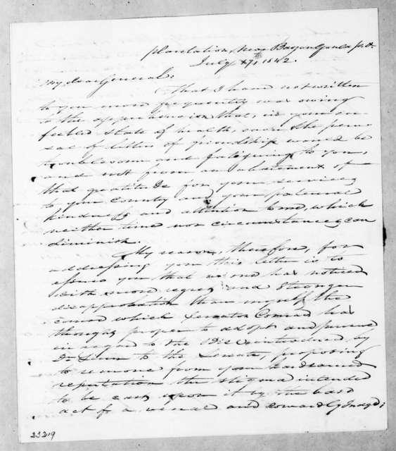 Edward George Washington Butler to Andrew Jackson, July 17, 1842