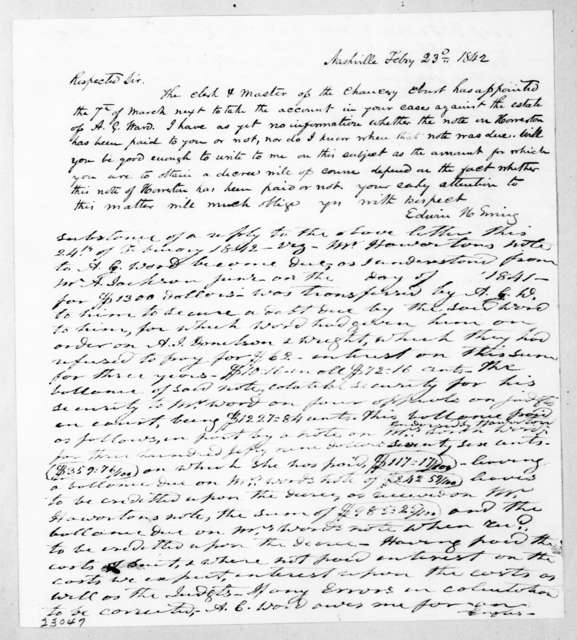 Edwin Hickman Ewing to Andrew Jackson, February 23, 1842
