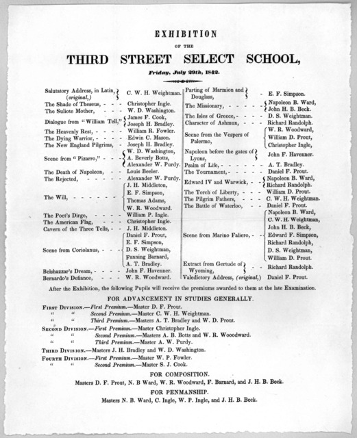 Exhibition of the Third street select school, Friday, July 29th, 1842.