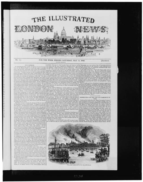 [Front page of the Illustrated London news, illustrated with view of London from waterfront, and view of the destruction of the city of Hamburg by fire]