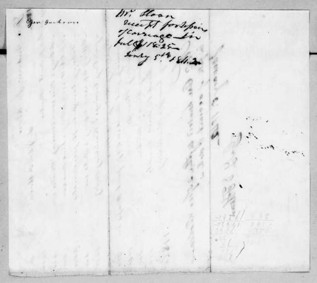 G. L. & F. Sloan to Andrew Jackson, January 5, 1842