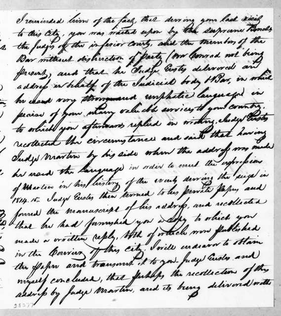 James Waller Breedlove to Andrew Jackson, August 18, 1842
