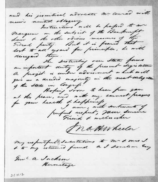John Hill Wheeler to Andrew Jackson, December 10, 1842