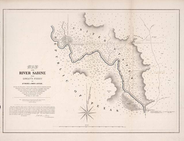 Map of the river Sabine from Logan's Ferry to 32nd degree of north latitude : shewing the boundary between the United States of America and the Republic of Texas between said points, as marked and laid down by survey in 1841, under the direction of the Joint Commission appointed for that purpose under the 1st article of the convention signed at Washington on the 25th day of April 1838 /