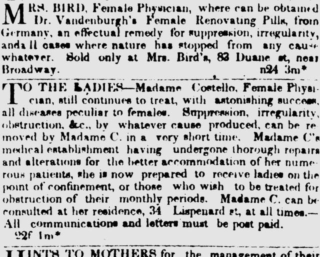Mrs. Bird, female physician To the Ladies--Madame Costello.