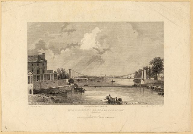 New suspension bridge at Fairmount, Philadelphia, constructed by Charles Ellet Jr., C.E. / W. Croome, del; engraved by Rawdon, Wright, Hatch & Smille.