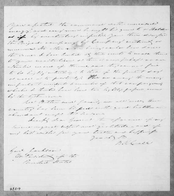 Richard Keith Call to Andrew Jackson, October 3, 1842
