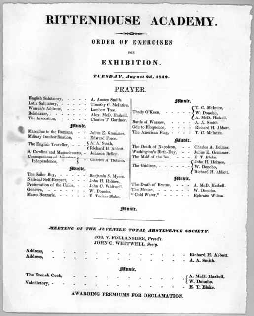 Rittenhouse academy. Order of exercises for exhibition. Tuesday, August 2d, 1842.