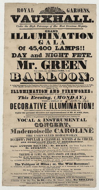 Royal Gardens, Vauxhall ... grand illumination gala of 45,400 lamps!! and day and night fete. Mr. Green will ascend, for the 283rd time, in his balloon ...