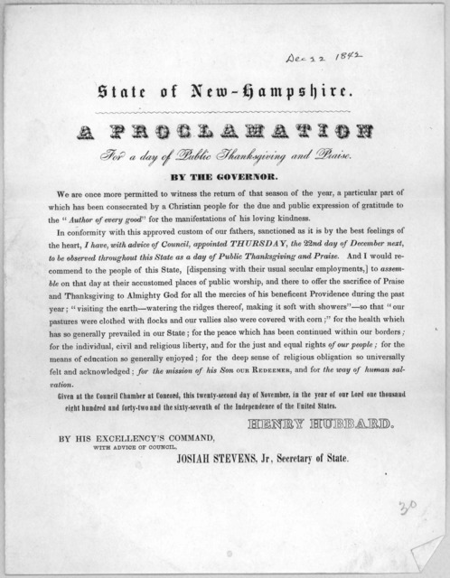 State of New-Hampshire. A proclamation for a day of public thanksgiving and praise. By the Governor ... appointed Thursday, the 22nd day of December next, to be observed throughout this state, as a day of public thanksgiving and praise ... Given