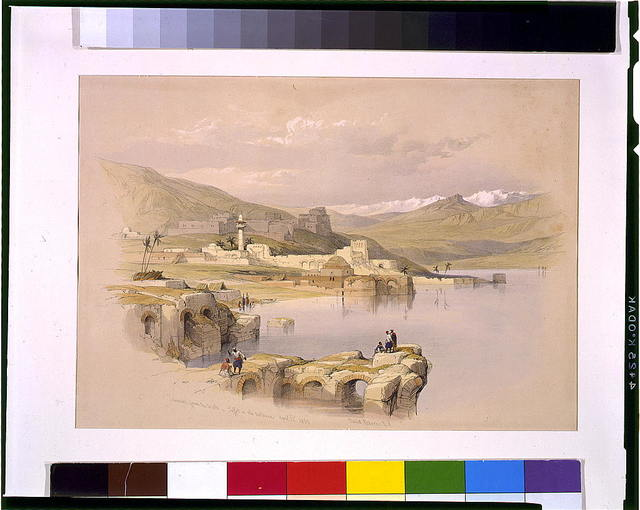 Tabarius (i.e., Tiberias) from the Walls Saffet (i.e., Safed) in the distance April 22nd 1839 / David Roberts, R.A.