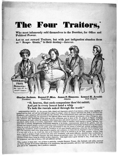 The four traitors, who most infamously sold themselves to the Dorrites, for office, and political power. [1842?].