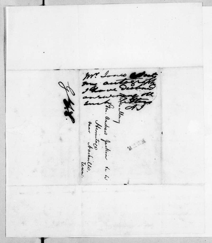 Thomas R. Jones to Andrew Jackson, May 30, 1842