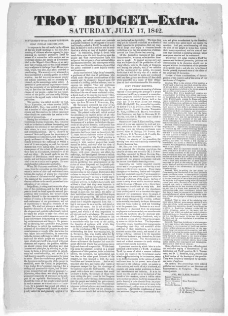 Troy budget-- Extra. Saturday, July 17, 1842. Settlement of the tariff question. Great popular demonstration. [Troy, N. Y. 1842.].