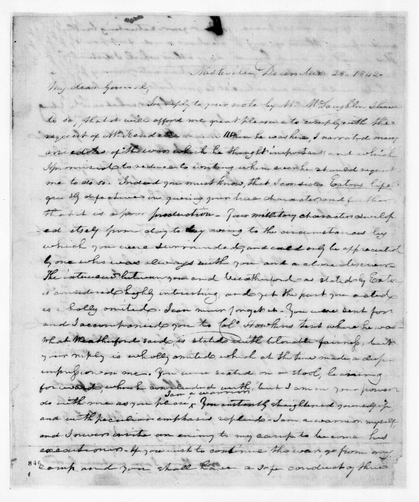 Unknown to Andrew Jackson, December 28, 1842