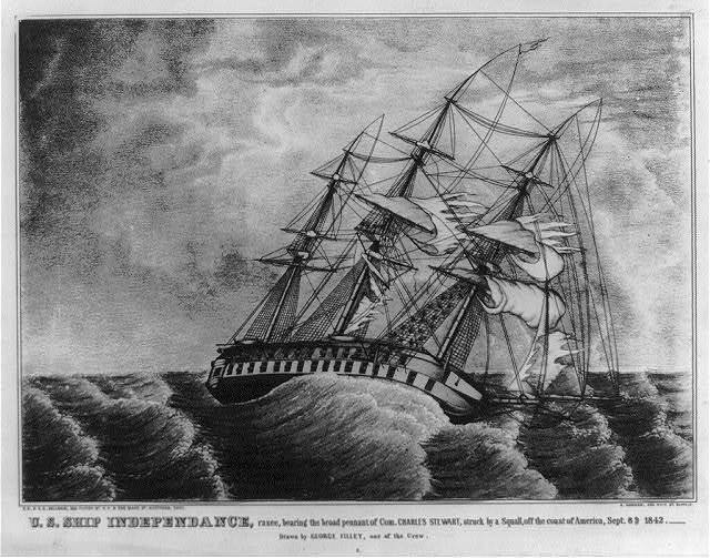 U.S. ship Independance, razee, bearing the broad pennant of Com. Charles Stewart, struck by a squall, off the coast of America, Sept. 8th 1842. Drawn by George Filley, one of the crew / E.B. & E.C. Kellogg, 144 Fulton St., N.Y. & 136 Main St. Hartford, Conn.