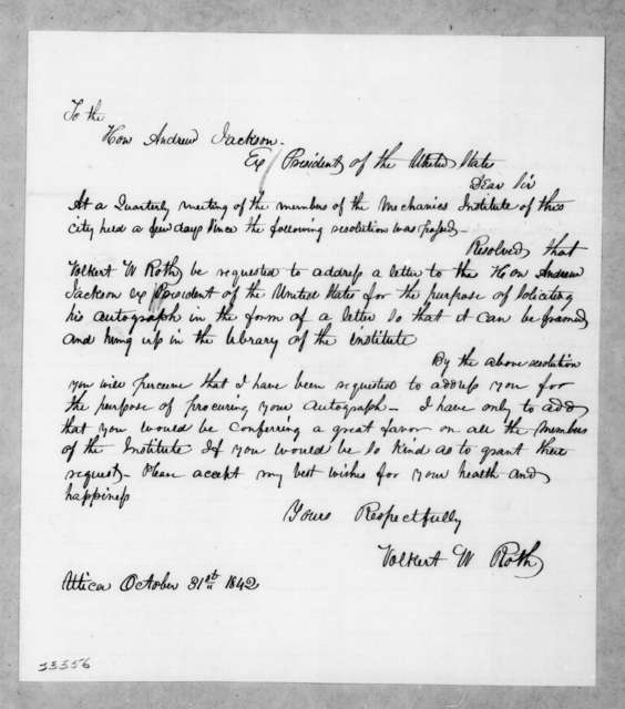 Volkert W. Roth to Andrew Jackson, October 31, 1842