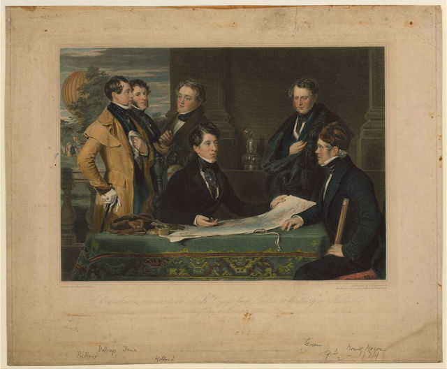 A consultation previous to an aerial voyage from London to Weilburg in Nassau on the 7th day of November, 1836 / painted by J. Hollins, A.R.A. ; engraved by J.H. Robinson, hon. member of the Imperial Academy of St. Petersburgh.