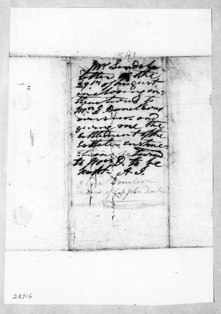 Adrian Van Sinderen Lindsley to Andrew Jackson, August 29, 1843