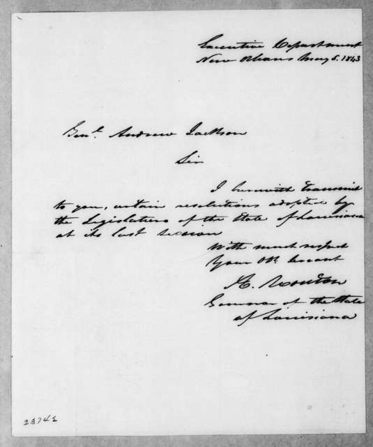 Alexander Mouton to Andrew Jackson, May 5, 1843