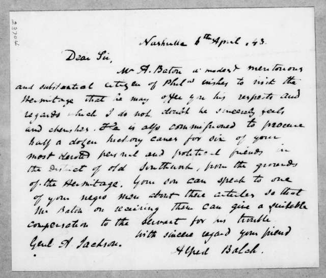 Alfred Balch to Andrew Jackson, April 6, 1843