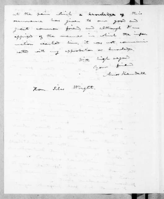 Amos Kendall to Silas Wright, Jr., February 28, 1843