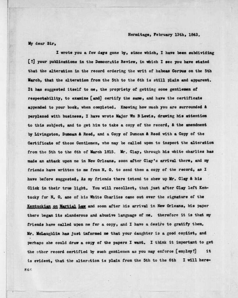 Andrew Jackson to Amos Kendall, February 13, 1843