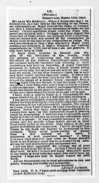 Andrew Jackson to Amos Kendall, November 13, 1843