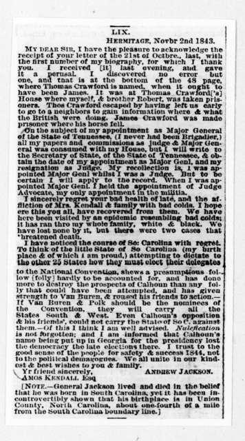 Andrew Jackson to Amos Kendall, November 2, 1843