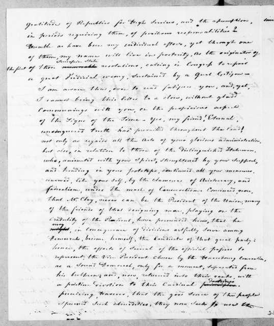 Auguste Genevieve Valentin Davezac to Andrew Jackson, August 7, 1843