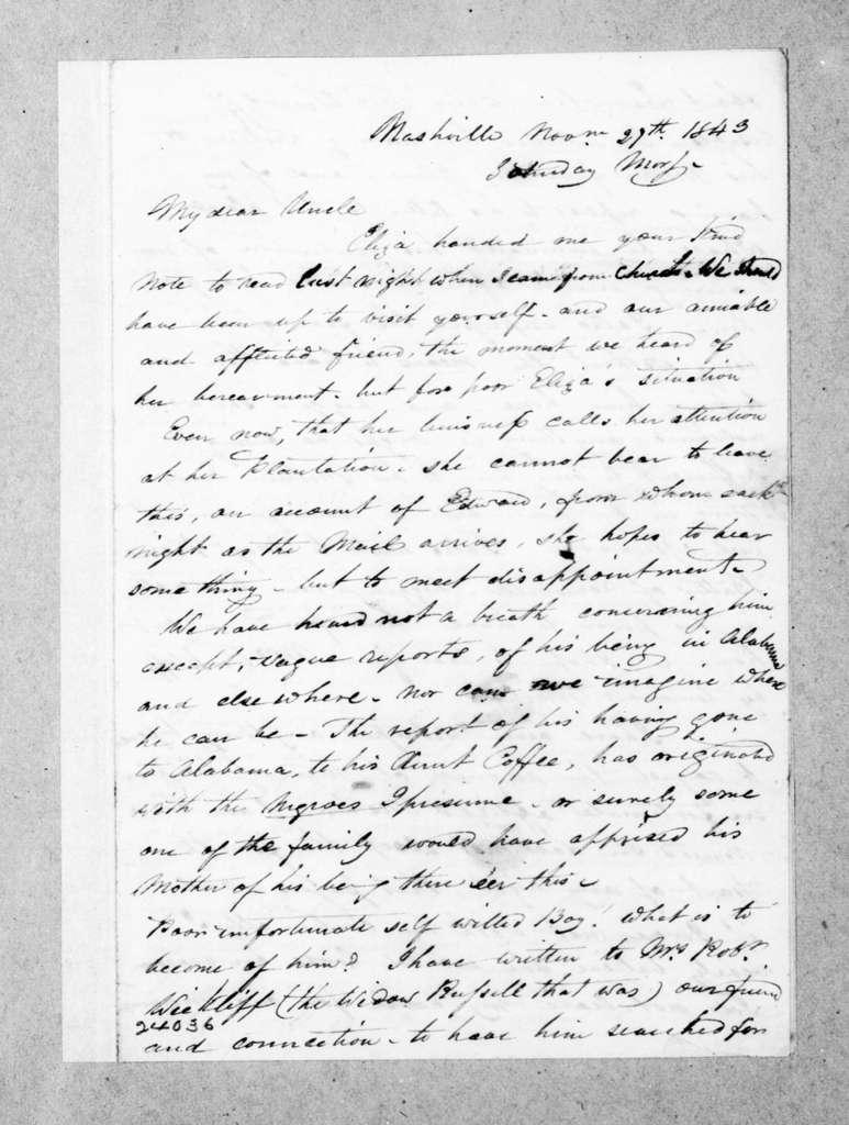 Caroline S. (Butler) Bell to Andrew Jackson, November 27, 1843