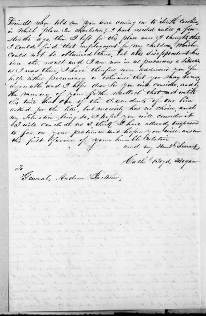 Catherine Boyd Hogan to Andrew Jackson, October 21, 1843