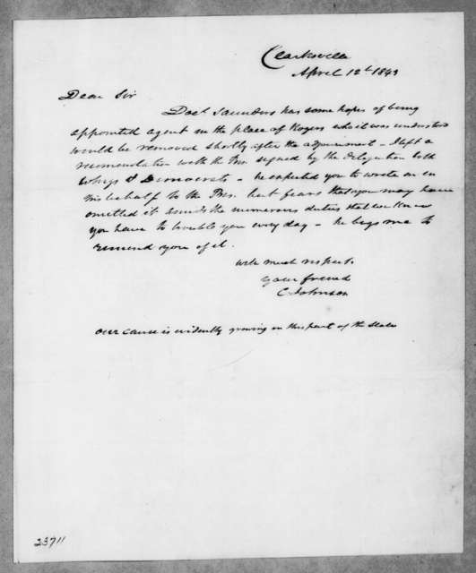 Cave Johnson to Andrew Jackson, April 12, 1843