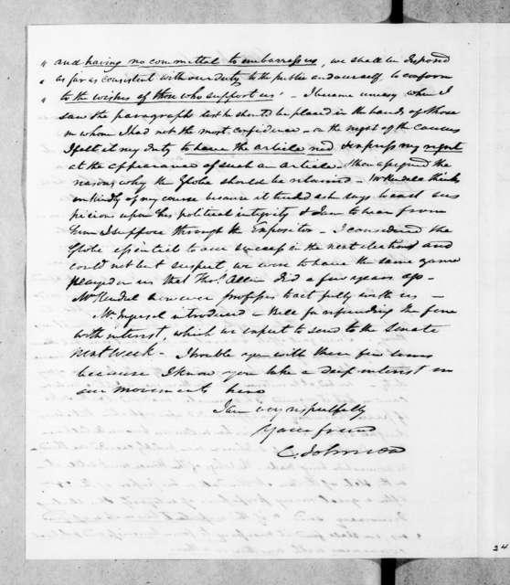 Cave Johnson to Andrew Jackson, December 7, 1843