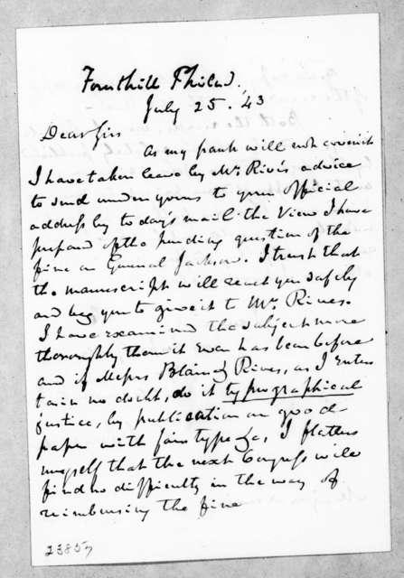 Charles Jared Ingersoll to William Berkeley Lewis, July 25, 1843