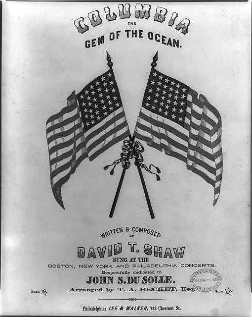gem of the ocean The home of the brave and the free, the shrine of each patriot's devotion, a world offers homage to thee with her garlands of vict'ry around her, when so proudly she bore her brave crew, with her flag proudly waving before her, the boast of the red, white and blue.