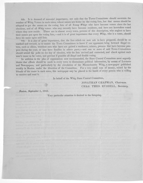 Confidential. Dear Sir: At a recent meeting of the Whig State Central Committee, it was voted to proceed to a thorough organization of the Whig party in this Commonwealth ... Boston, September 1, 1843.