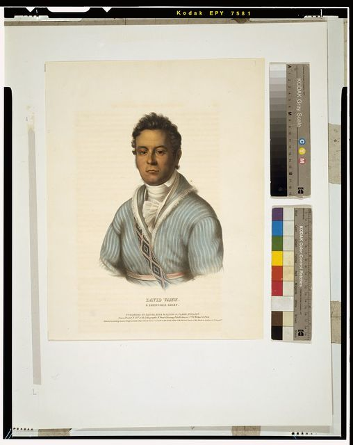 David Vann. A Cherokee chief / drawn, printed and col'd at the Lithographic & Print Colouring Establishment, No. 94 Walnut St., Phila.