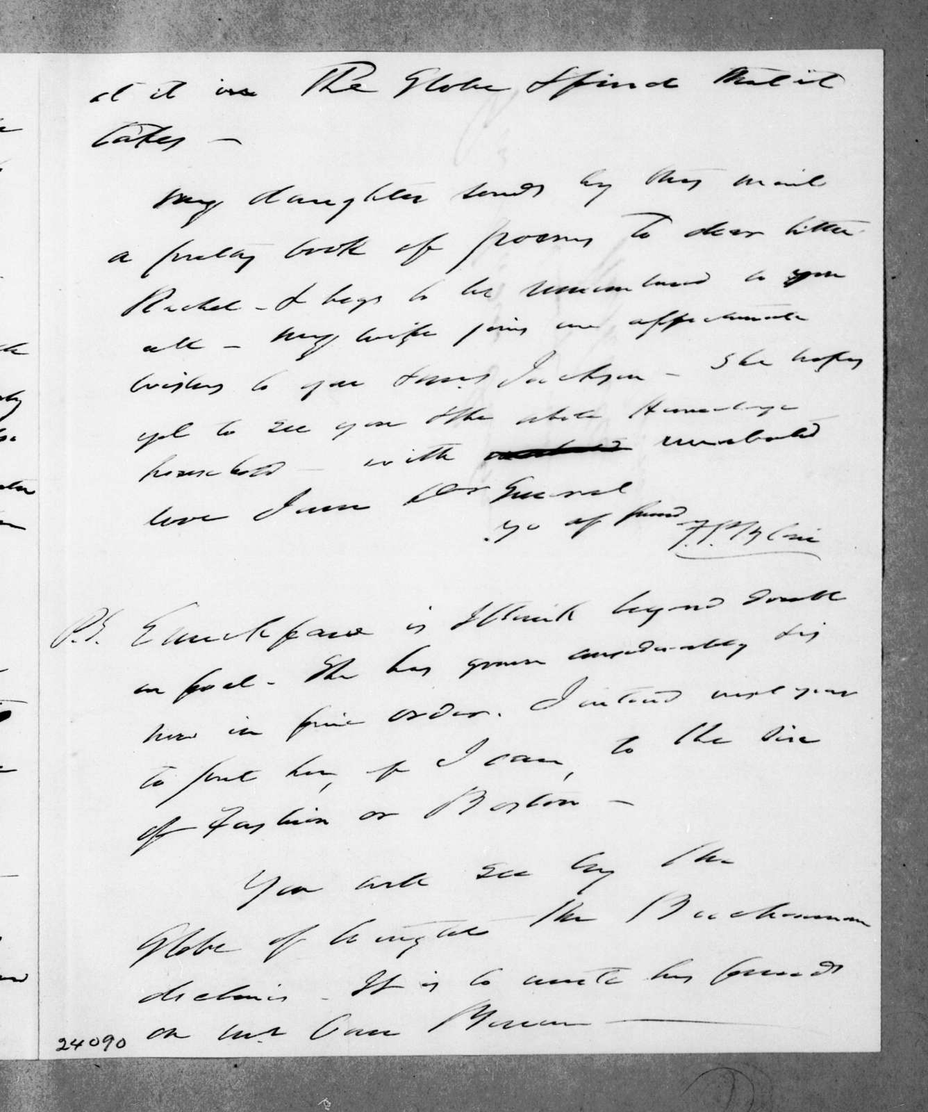 Francis Preston Blair to Andrew Jackson, December 25, 1843