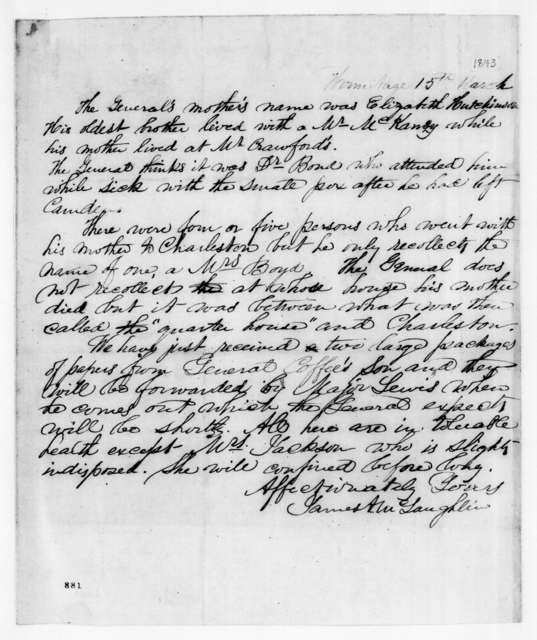 James A. McLaughlin to Amos Kendall, March 15, 1843