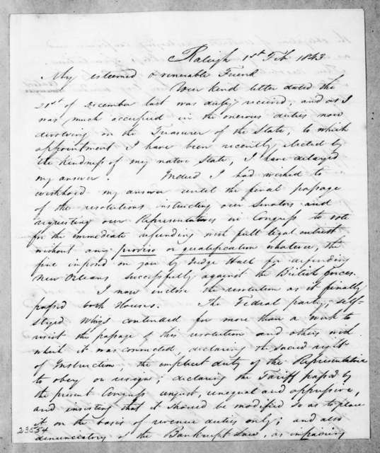 John Hill Wheeler to Andrew Jackson, February 1, 1843