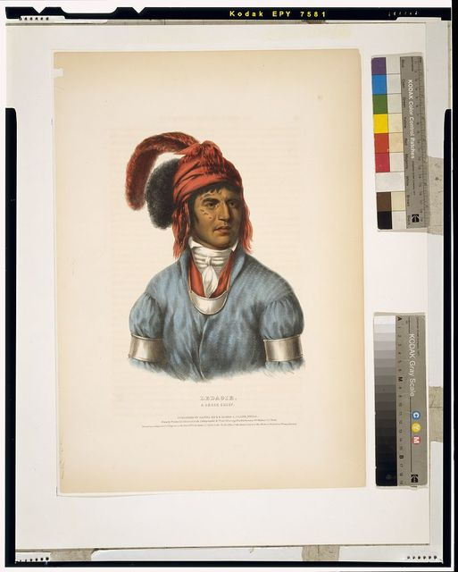 Ledagie. A Creek chief / drawn, printed and coloured at the lithographic establishment, 94 Walnut St., Phila.