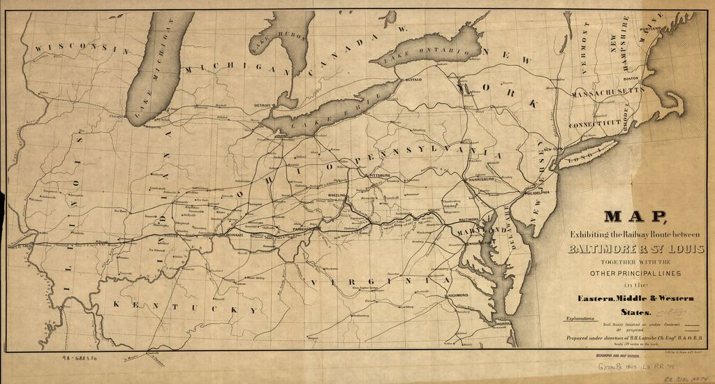 Map, exhibiting the railway route between Baltimore & St. Louis, together with the other principal lines in the eastern, middle & western states; prepared under the direction of B. H. Latrobe, Ch. Engr. B. & O. R.R.