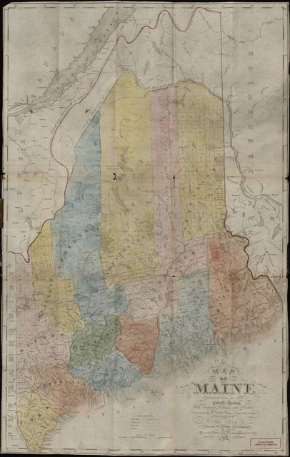Map of Maine : constructed from the most correct surveys with sectional distances and elevations, or level, of the St. Croix River from Calais Bridge deduced from the states survey /