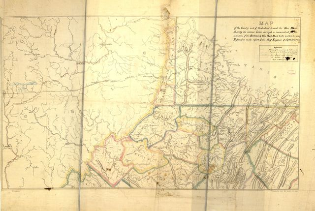 Map of the county west of Cumberland towards the Ohio river, showing the various lines surveyed or reconnoitred [sic] for the extension of the Baltimore & Ohio Rail Road to its western terminus referred to in the report of the chief engineer of September 20th, 1843.