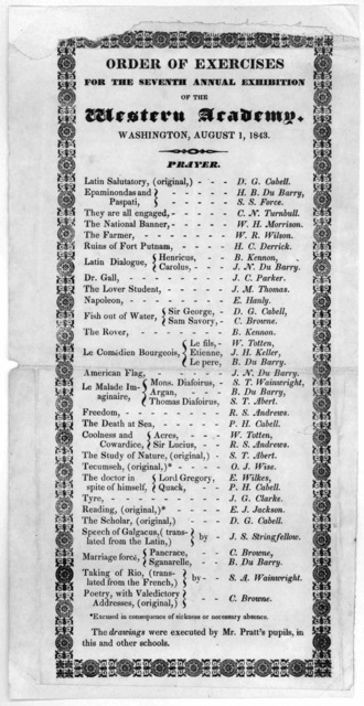 Order of exercises for the seventh annual exhibition of the Western academy, Washington, August 1, 1843.