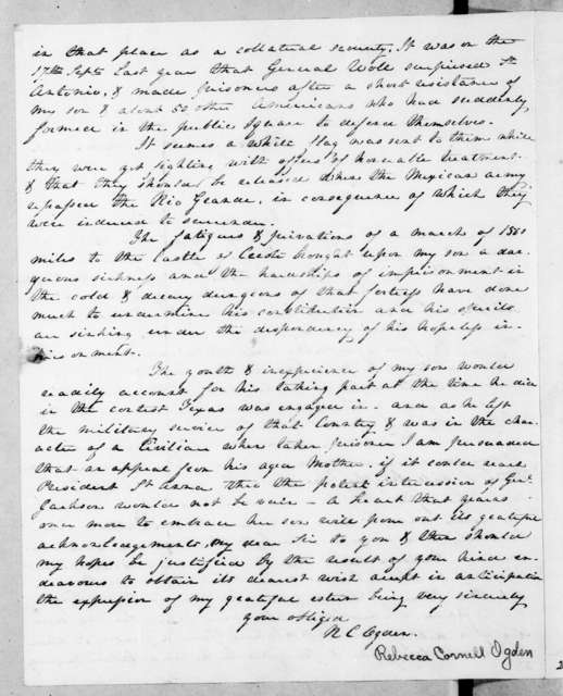 R[ebecca?] C[ornell?] Ogden to Silas Wright, September 21, 1843